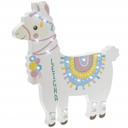 Personalised Llama LED Wooden Wall Light