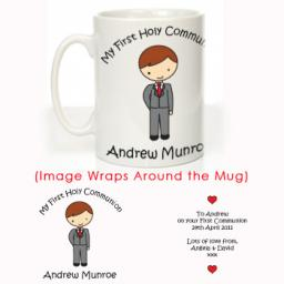 Personalised First Holy Communion Mug Boy Design