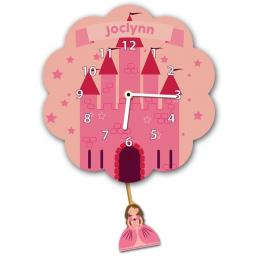 Girls Personalised Pink Princess Castle Quartz Wall Clock Pendulum