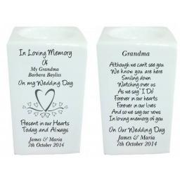 Personalised Bone China Hearts Memorial Tealight Holder