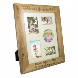 Personalised 10x8 Grandchildren Wooden Portrait Photo Frame