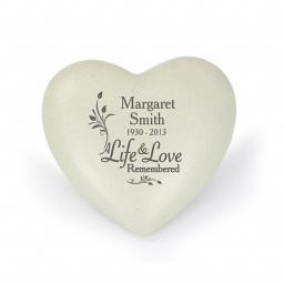 Personalised Life & Love Memorial Heart
