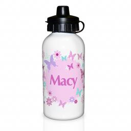 Personalised Child's Pink Butterfly Drinks Bottle