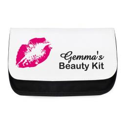 Personalised Ladies Make Up Cosmetic Bag Pouch Lips Motif