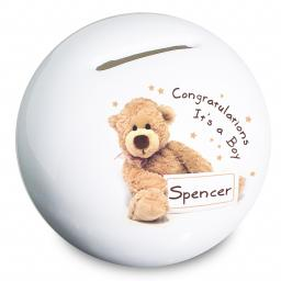 Personalised Teddy Bone China Moneybox