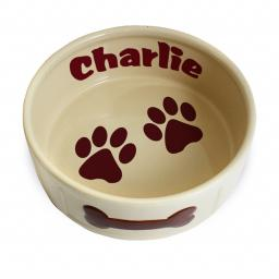 Personalised Large Brown Paws Dog Pet Bowl