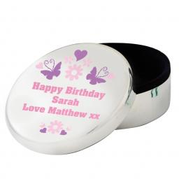 Personalised Butterfly Round Trinket Box