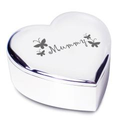 Mummy Heart Shaped Trinket Box Butterfly Motif