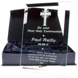 Personalised Engraved Glass Plaque First Holy Communion 'Cross' Design