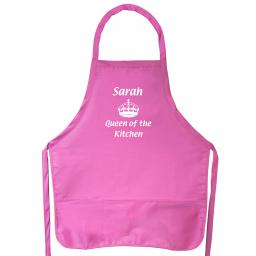 Personalised Queen of the Kitchen Pink Apron