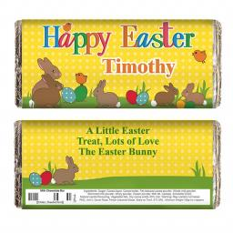 Personalised Easter Bunny Milk Chocolate Bar 100g