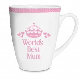 Personalised Pink World's Best Female Latte Mug Choice of Mum Mam Mummy Gran Nan etc