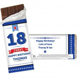 Personalised Birthday Stars Chocolate Bar 100g