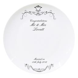 Personalised Ornate Swirl Message Plate and Pen
