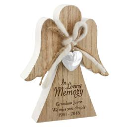 Personalised Rustic Wooden Angel Ornament In Loving Memory