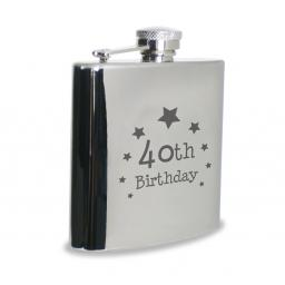 40th Birthday 6 oz Stainless Steel Hipflask Star Motif