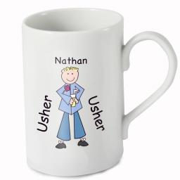 Personalised Cartoon Young Usher Wedding Mug
