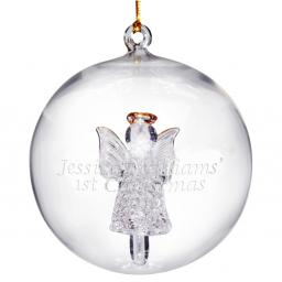 Personalised Christmas Tree Bauble Glass Angel