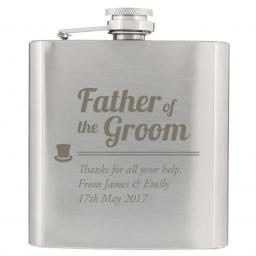 Personalised Father of the Groom Engraved Stainless Steel Hipflask Top Hat Motif