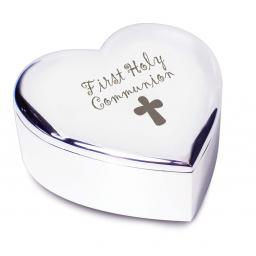 First Holy Communion Heart Trinket Box Cross Motif