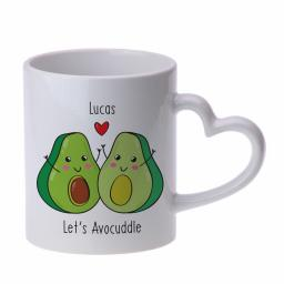 Personalised Let's Avo-Cuddle Heart Handle Mug