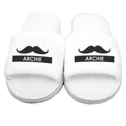 Personalised Mens Moustache Velour Slippers Open Toe