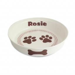 Personalised Brown Paws Dog Pet Bowl