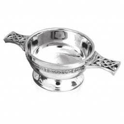Personalised Pewter Quaich with Celtic Band and Handles