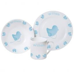 Personalised Baby Breakfast Set Blue Chick Design