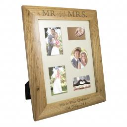 Personalised 10x8 Mr & Mrs Wooden Portrait Photo Frame