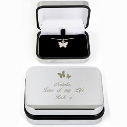 Silver Plated Butterfly Swirl Necklace & Engraved Personalised Box