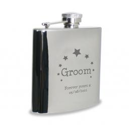 Personalised Groom Engraved 6 oz Stainless Steel Hipflask Star Motif
