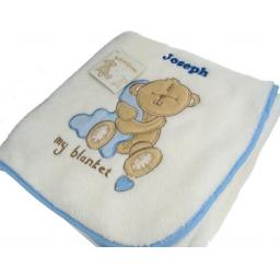 Personalised Baby Boy Teddy Blanket Blue Trim