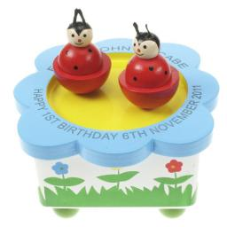 Personalised Laser Engraved Children's Wooden Music Box with Dancing Beetles