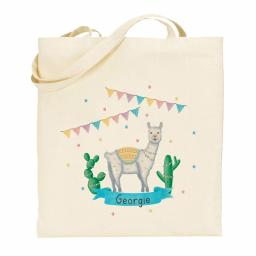 Personalised Llama Fiesta Cotton Tote Bag