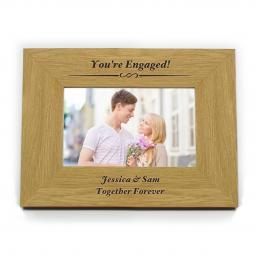 Personalised 4x6 Any Message Wooden Photo Frame Landscape Formal