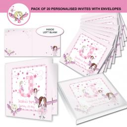 Personalised Fairy Initial Invitations