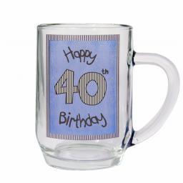 Blue 40th Happy Birthday Tankard Glass