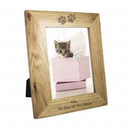 Personalised 7x5 Paw Prints design Wooden Frame