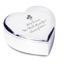 Personalised Teacher Heart Trinket Box Flower Motif