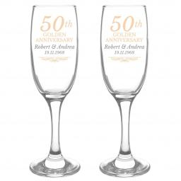 Personalised 50th Golden Anniversary Pair of Flutes