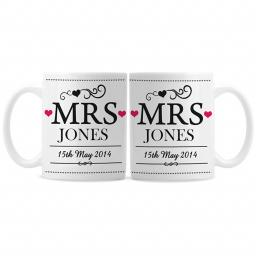 Personalised Mrs & Mrs Wedding Pair Mugs Set | Occasions Gifts