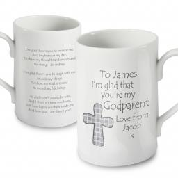 Godparent Personalised Christening Mug Cross Design