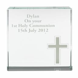 Personalised Cross Glass Crystal Block Keepsake