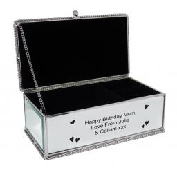 Personalised Mirrored Jewellery Box Hearts Design