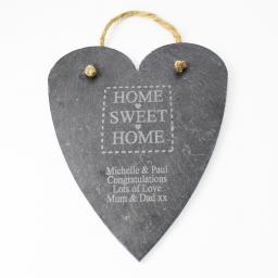 Personalised Engraved Home Sweet Home Slate Hanging Heart