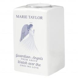 Personalised Guardian Angel Ceramic Tealight Candle Holder