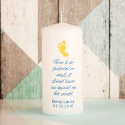 Personalised Baby Footprint Memorial Candle