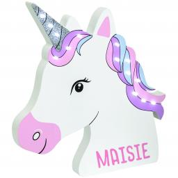Personalised Unicorn Wooden LED Wall Light