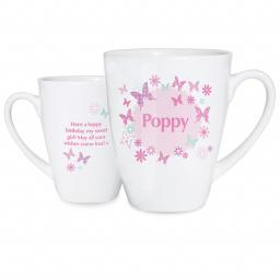 Personalised Pink Butterfly Latte Mug